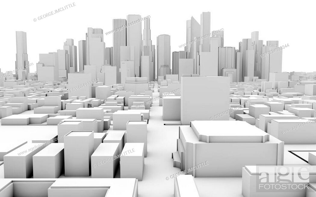 Stock Photo: 3d rendering of a white business city infrastructure. Business concept.
