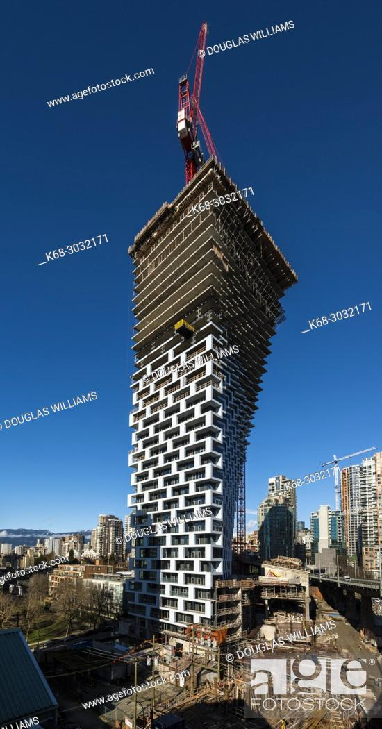 Stock Photo: Vancouver House, a tower under construction in Vancouver, BC, Canada. Design by Bjarke Ingels.