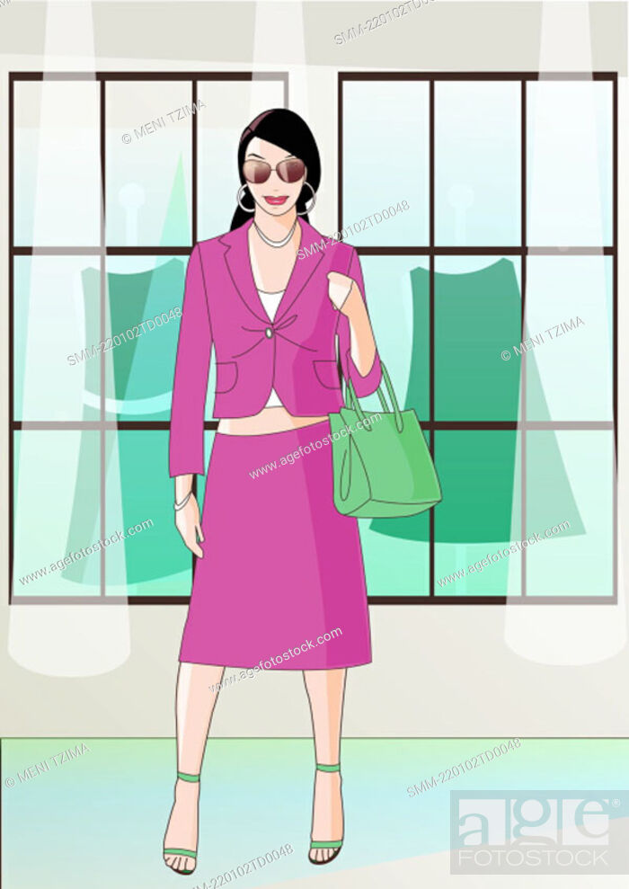 Stock Photo: Woman with a suit in front of clothes store.