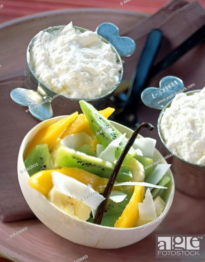 Stock Photo: Orange blossom mousse and exotic fruit salad.