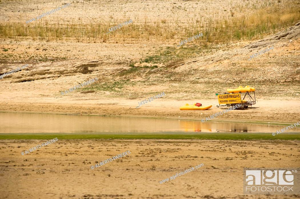 Stock Photo: Drought in Entrepeñas Reservoir, Guadalajara province, Spain.