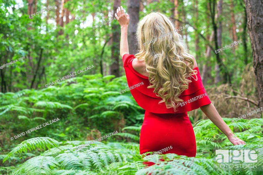 Stock Photo: Back view of a Beautiful blonde girl in a chic red dress touching a fern in the fairy forest. Atmosphere fantastic. . High quality photo.