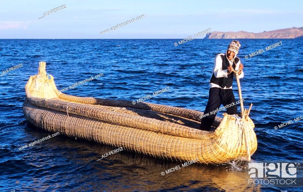 Stock Photo: Peru - Titicaca Lake - Islas Flantantes - Uros Indians.