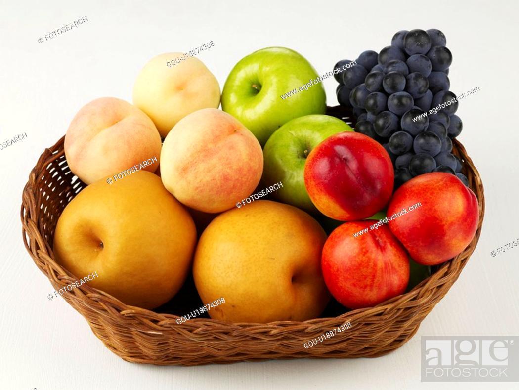 Stock Photo: plant, grape, fruit basket, basket, apple, peach.