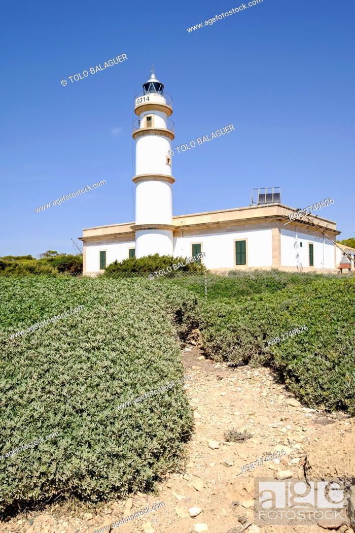 Stock Photo: faro de Cap Salines, estacion de investigacion costanera, IMEDEA, Majorca, Balearic Islands, Spain.