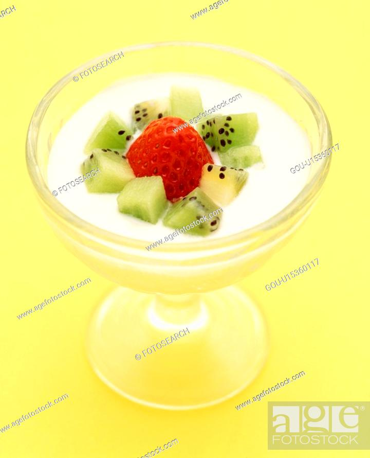 Stock Photo: Fruit yogurt.