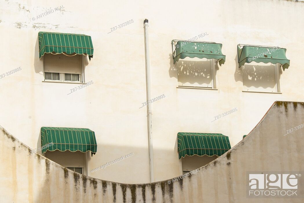Stock Photo: Windows. Almansa. Albacete province, Castile-La Mancha, Spain.