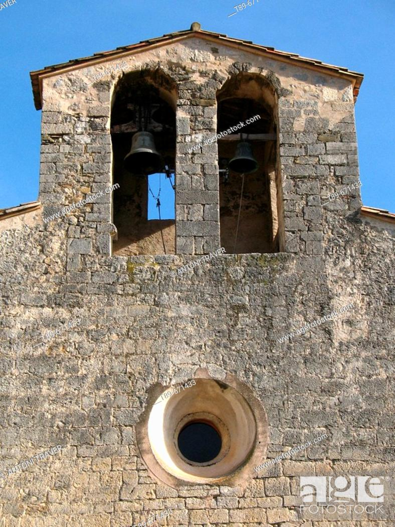 Stock Photo: Church of Sant Llorenç, Oix, Girona, Cataluña, Spain.