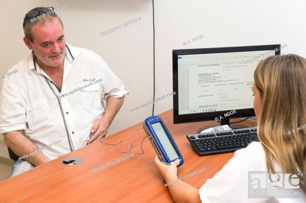 Stock Photo: Reportage in the Pain Evaluation and Treatment service in Cimiez Hospital, Nice, France. The patient suffers from multiple sclerosis causing refractory.