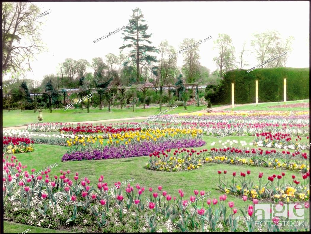 View of gardens at the village of Tewin, near Welwyn Garden City ...