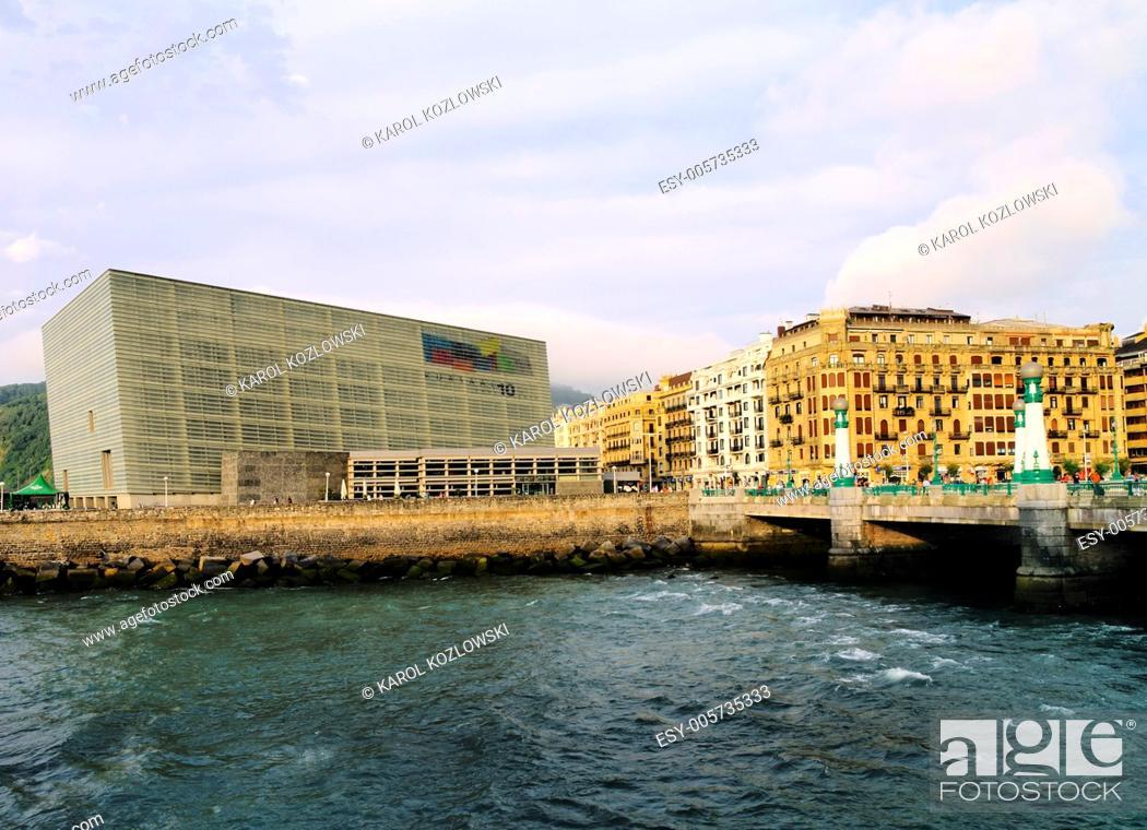 Stock Photo: Kursaal Auditorium in Donostia - San Sebastian, Basque Country, Spain.