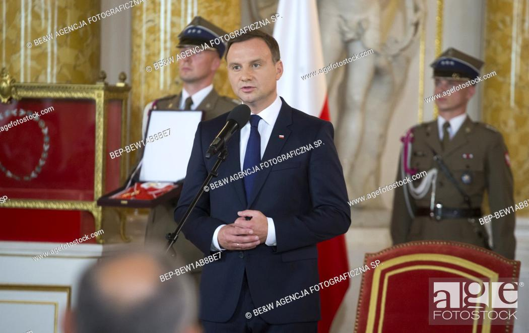 Stock Photo: Aug. 6, 2015 Warsaw, presidential inauguration in Poland: Andrzej Duda sworn in as new Polish president. Receiving the insignia of orders at the Royal Castle.