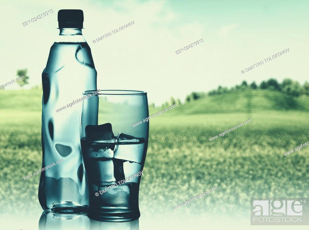 Stock Photo: Bottled spring mineral water against abstract natural backgrounds.
