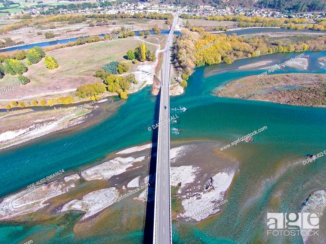 Stock Photo: New Kurow Bridge over Waitaki River, Kurow, Waitaki Valley, North Otago, South Island, New Zealand, drone aerial.