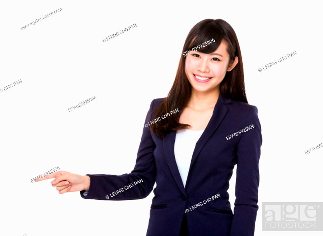 Stock Photo: Businesswoman showing finger point aside.