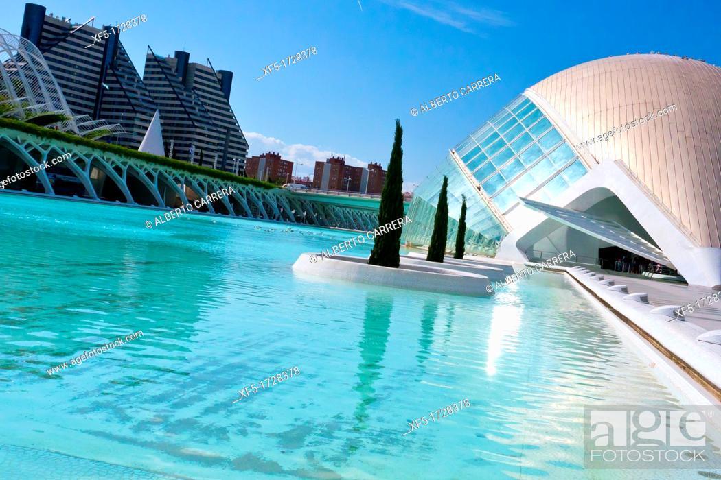 Stock Photo: Hemisferic, City of Arts and Sciences, Valencia Comunity, Valencia, Spain, Europe.