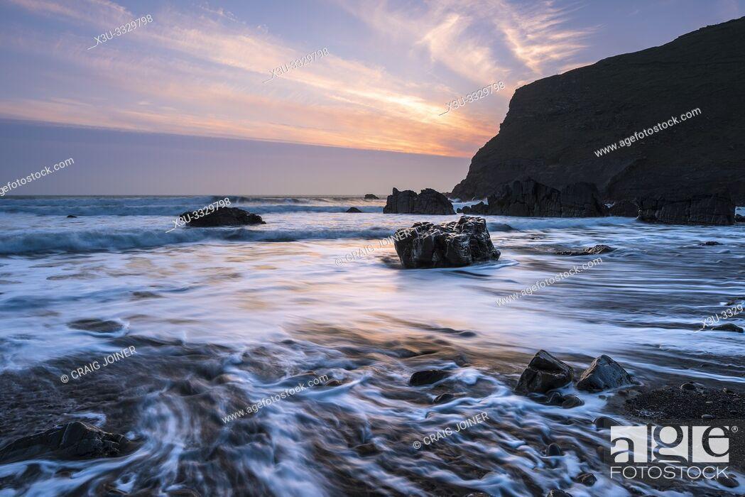 Stock Photo: Duckpool on the Hartland Heritage Coast, North Cornwall, England.