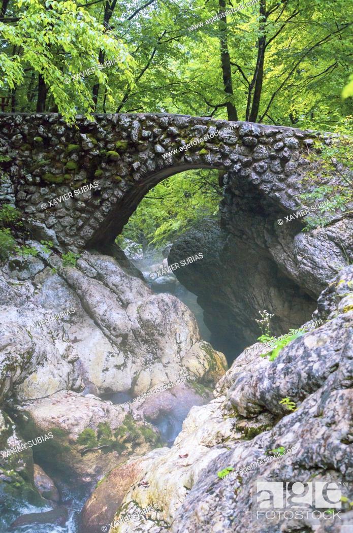 Stock Photo: Stone Bridge across Mala Savica, Gorenjska, Bohinj, Slovenia.