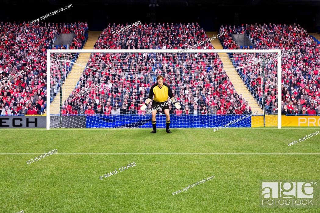 Stock Photo: Goalkeeper standing in goal.