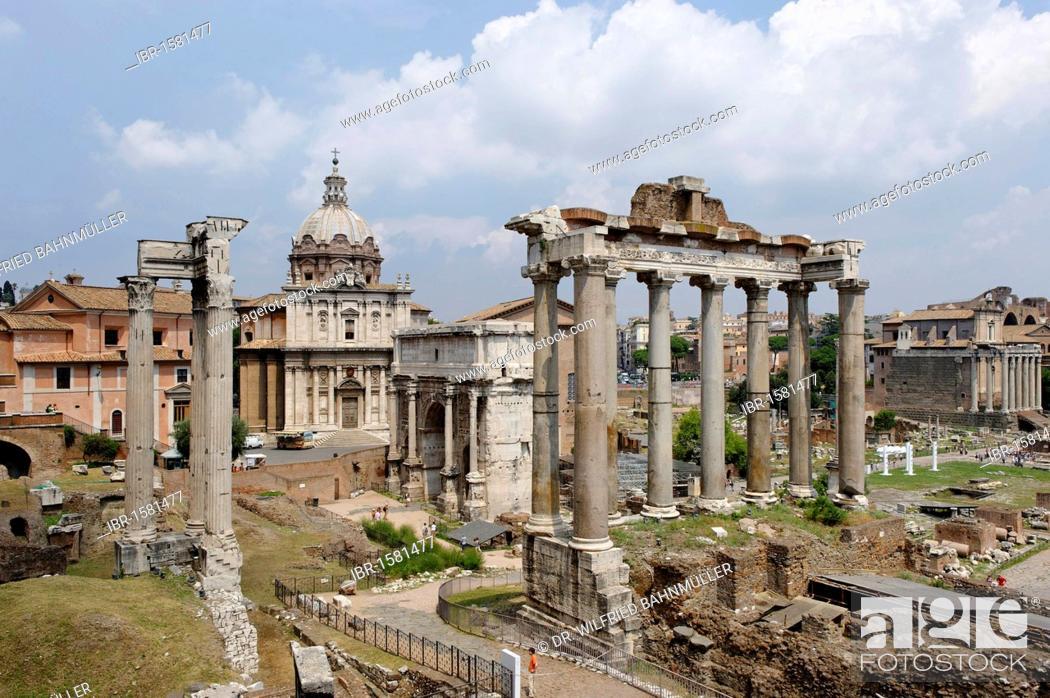 Stock Photo: Forum Romanum, with tempel of Saturn and S. Luca e Martina church, Rome, Italy, Europe.