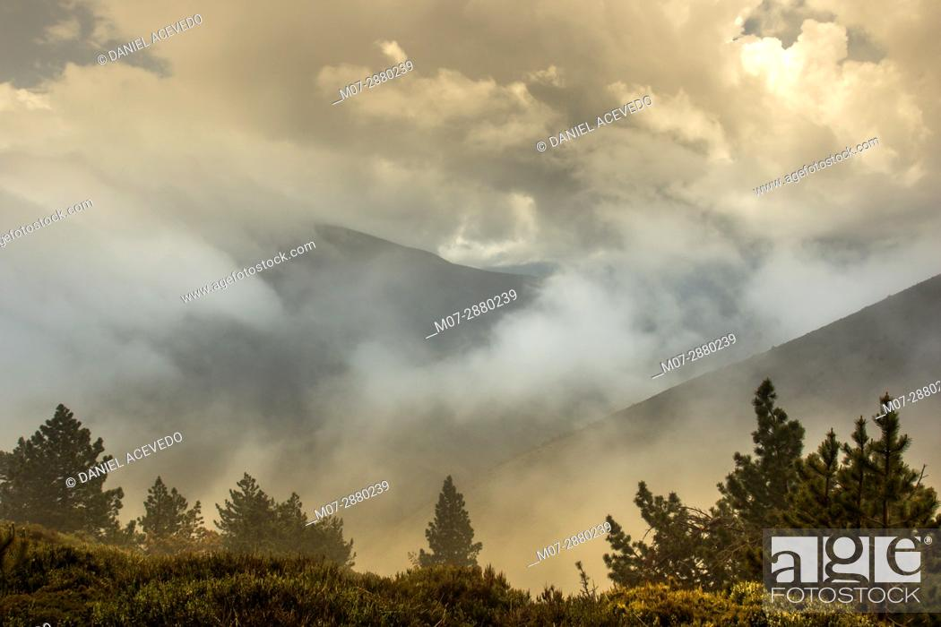 Stock Photo: La Demanda mountains range peaks, Rioja Wine and Nature region, La Rioja, Spain.