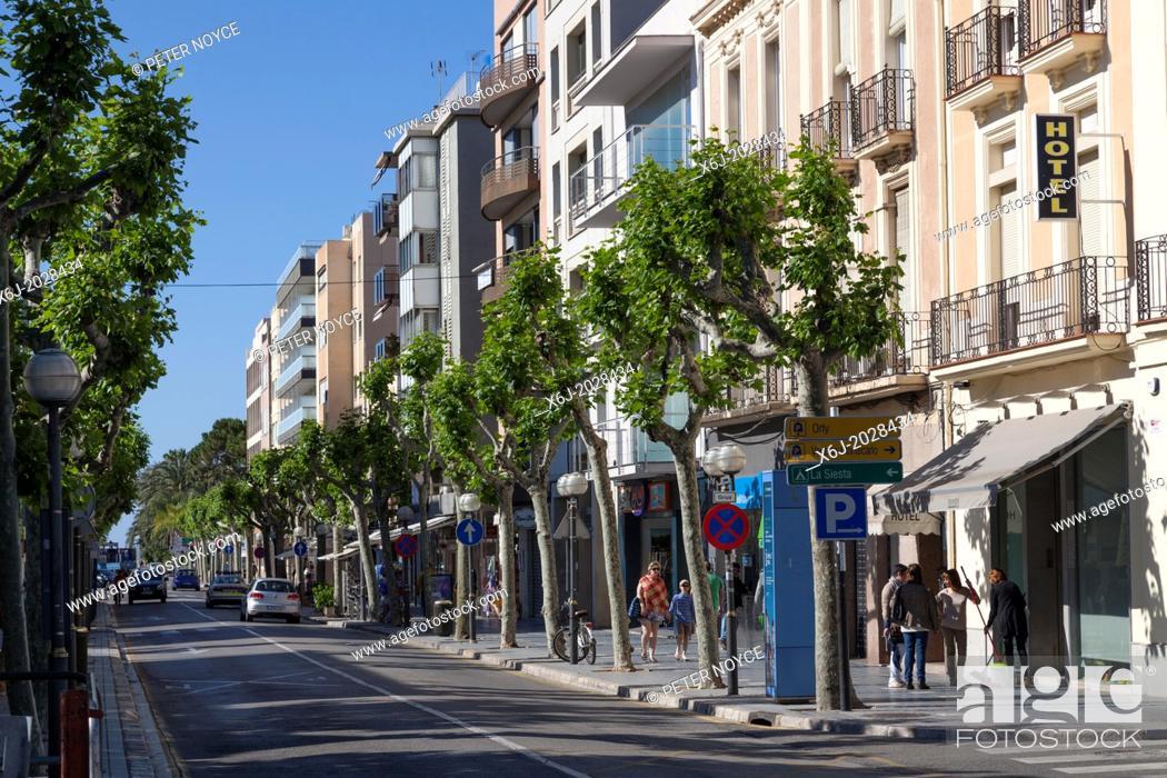 Stock Photo: Town centre street at Salou.