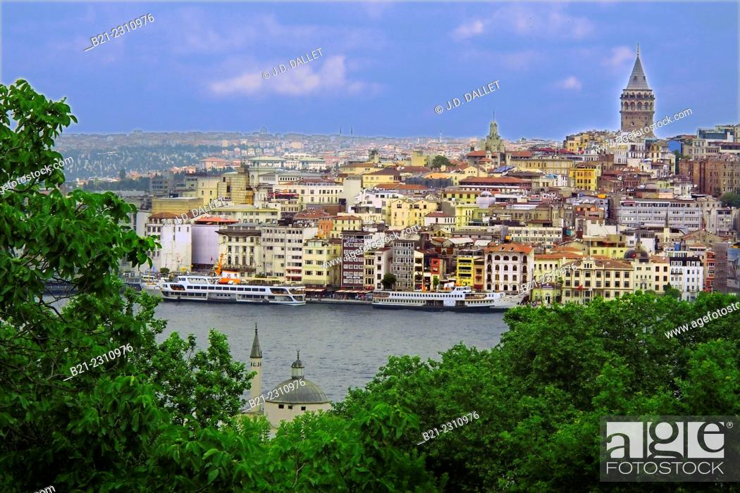 Stock Photo: View to Galata from Topkapi Palace, Istanbul, Turkey.