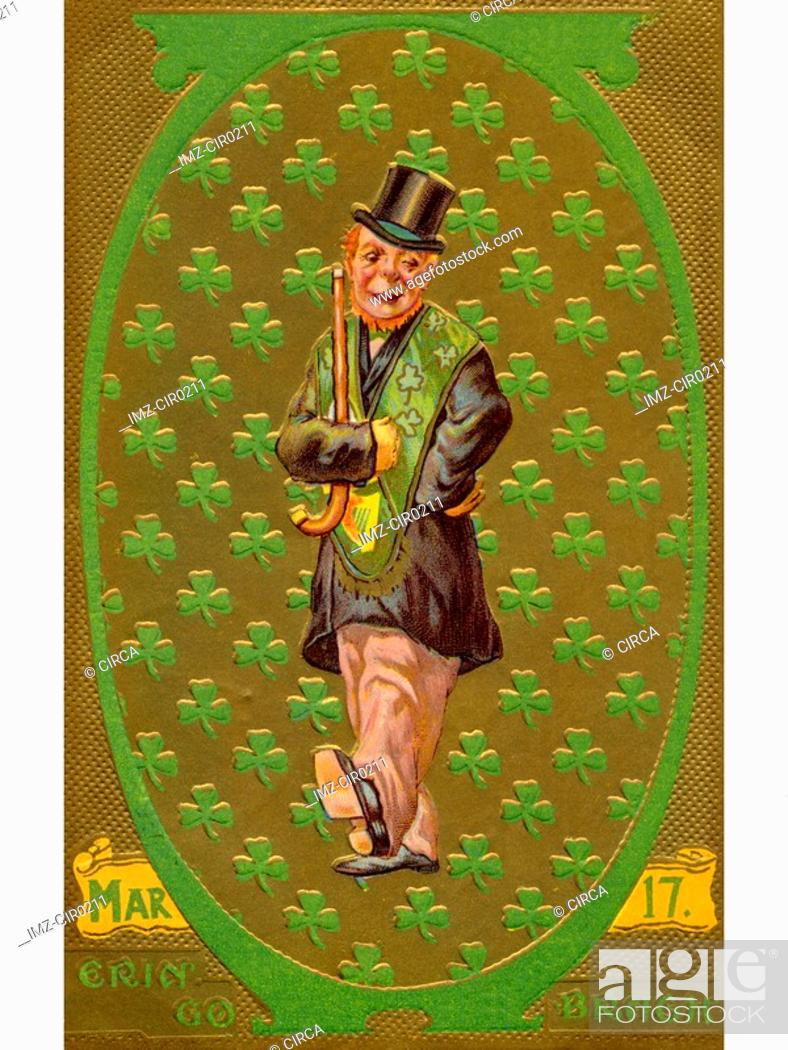 Stock Photo: A vintage St. Patricks Day illustration of an Irish man with a patter of shamrocks.