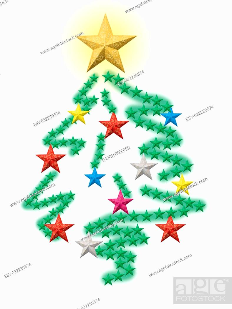 Stock Photo: Christmas stars forming a colorful decorated pine tree.