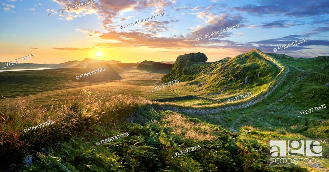 Stock Photo: Hadrians Wall near Houseteads Roman Fort, Vercovicium, A UNESCO World Heritage Site, Northumberland, England, UK.