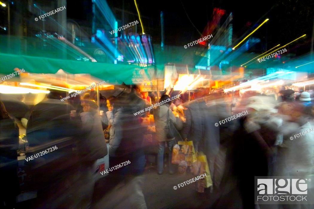 Stock Photo: cityscape, light, blur, people, city, effect, night.