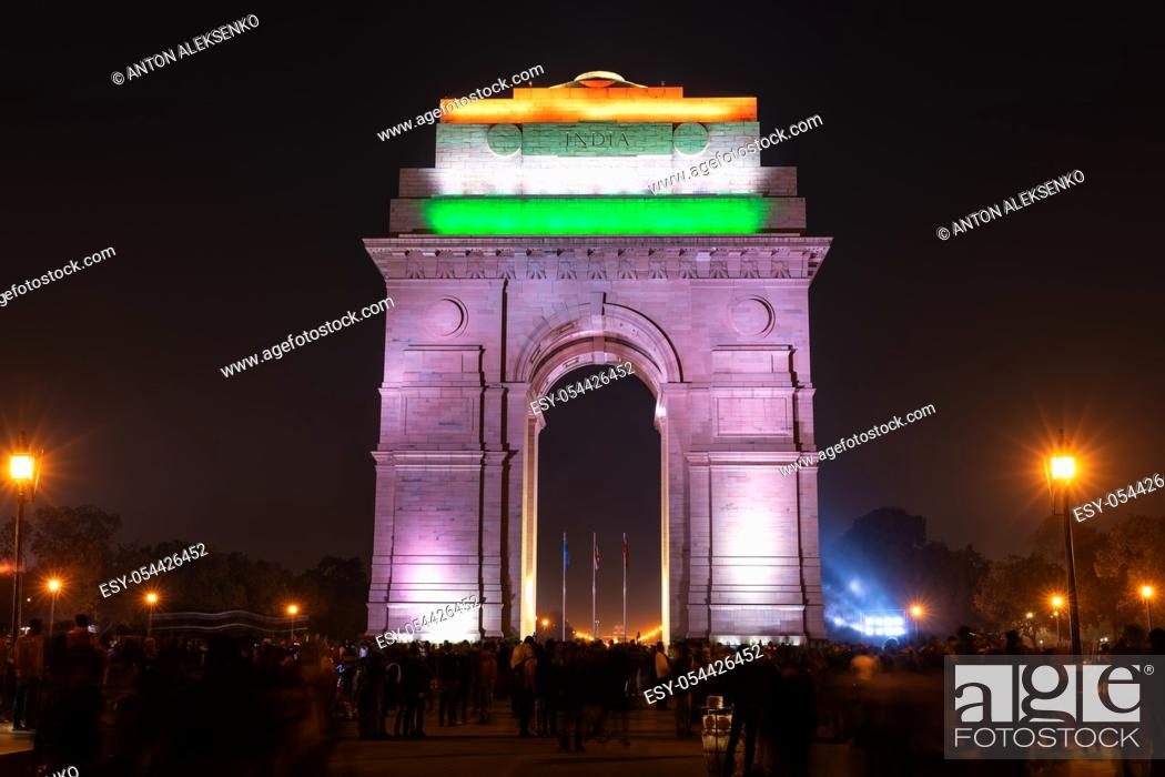 Stock Photo: India Gate lit up at night, New Delhi.