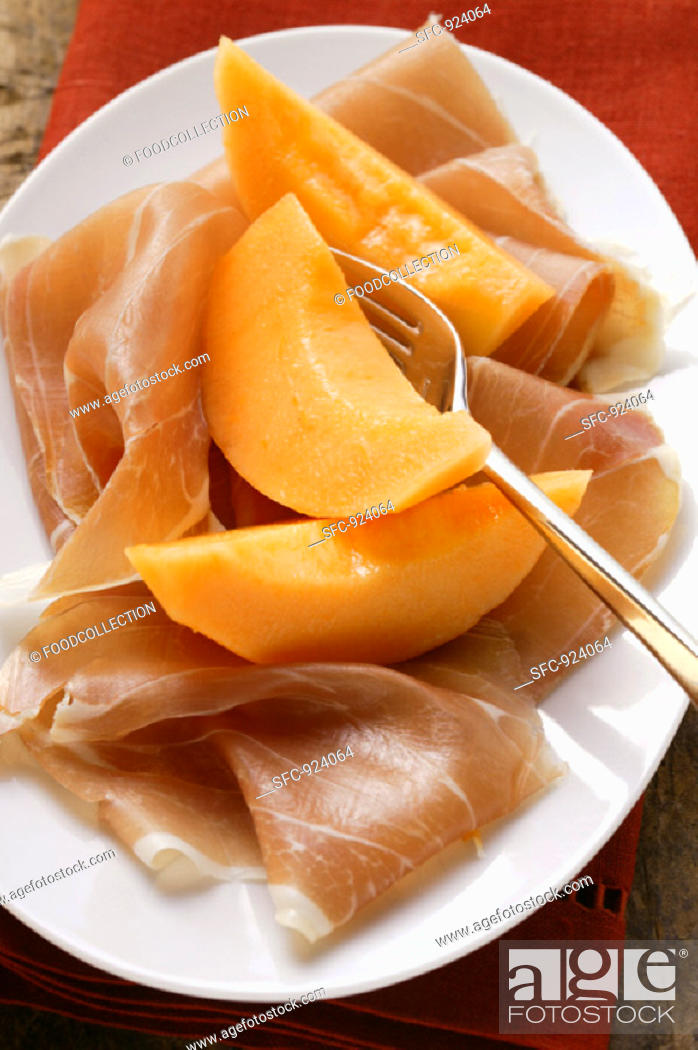 Stock Photo: Parma ham with melon.