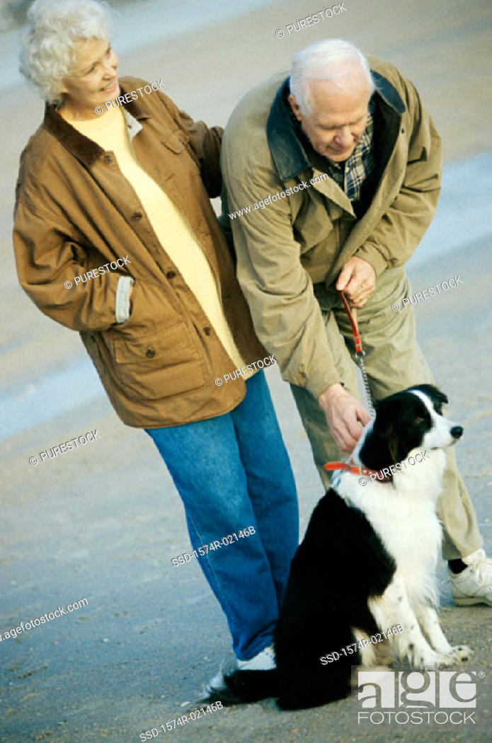 Stock Photo: Senior couple standing with their dog on the beach.
