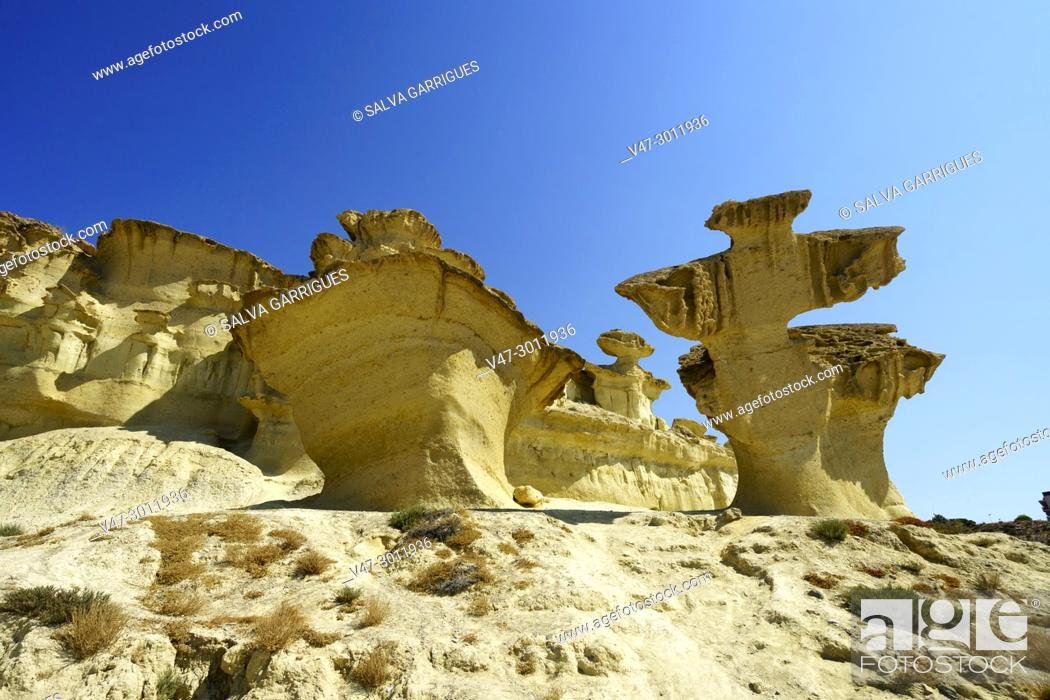 Stock Photo: Natural sculptures created by erosion in Bolnuevo, Mazarrón, Murcia, Spain, Europe.