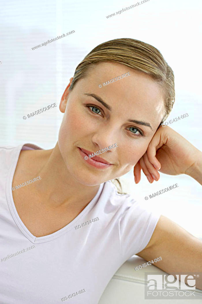 Stock Photo: Portrait of a mid adult woman.