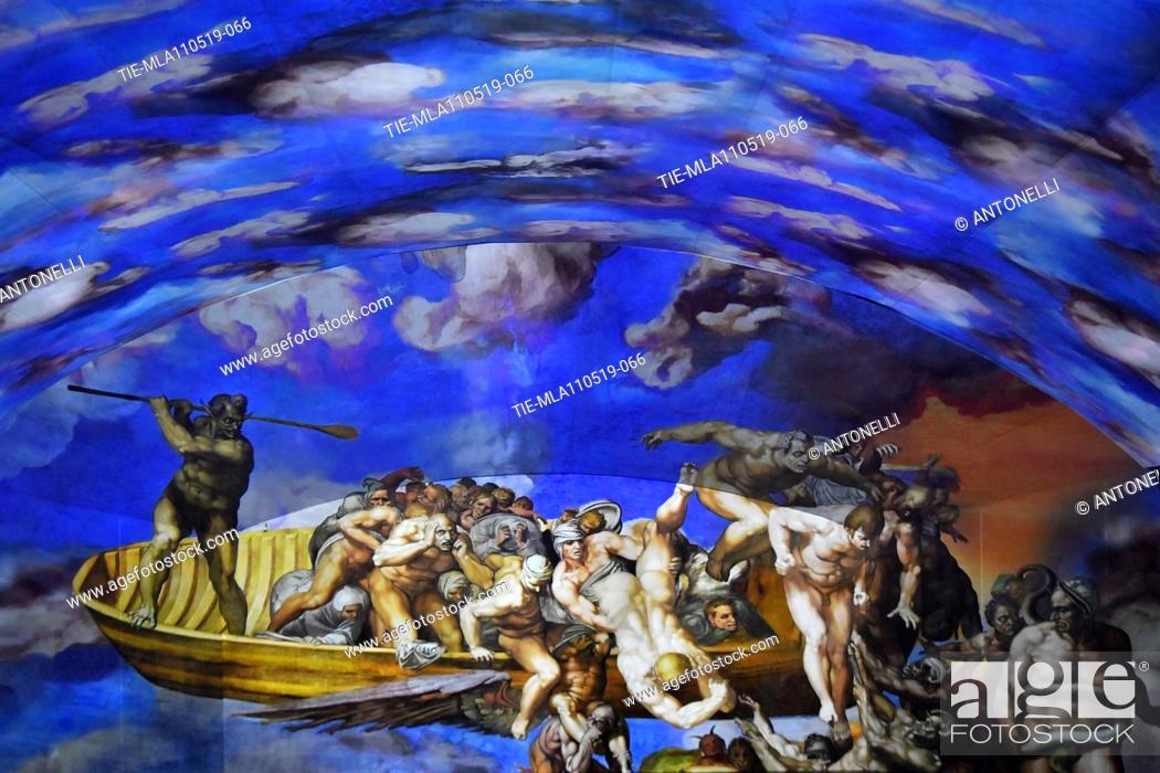 Stock Photo: Giudizio Universale The Sistine Chapel Immersive Show, about the life of Michelangelo, in Auditorium Conliazione, Rome, Italy 10-05-2019.