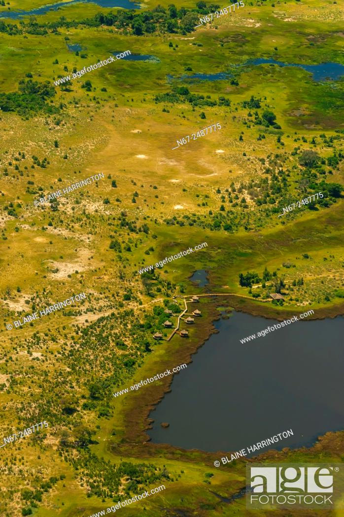 Stock Photo: Aerial views on flight from Okavango Delta to Maun, Botswana.