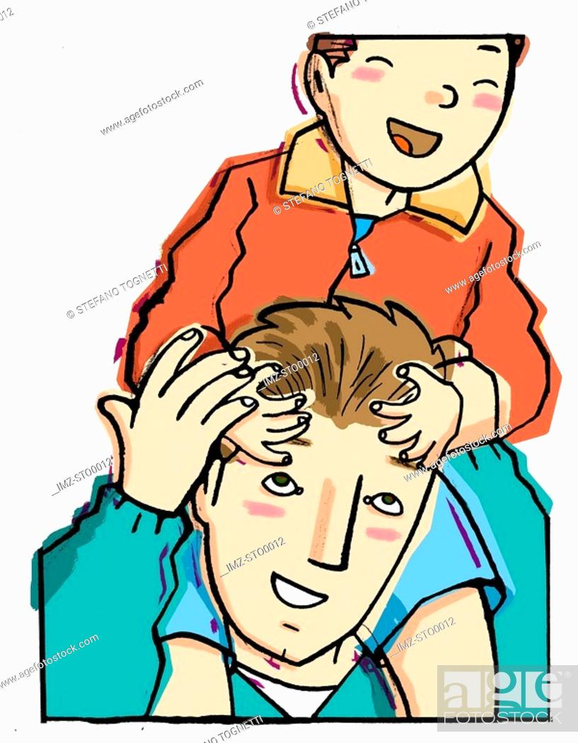 Stock Photo: A man with a small boy riding on his shoulders.