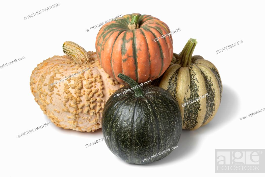 Photo de stock: Variety of pumpkins on white background.