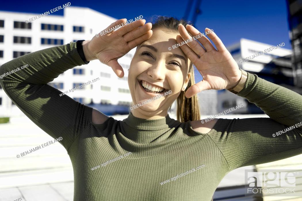 Stock Photo: happy laughing woman, in Hamburg, Germany.