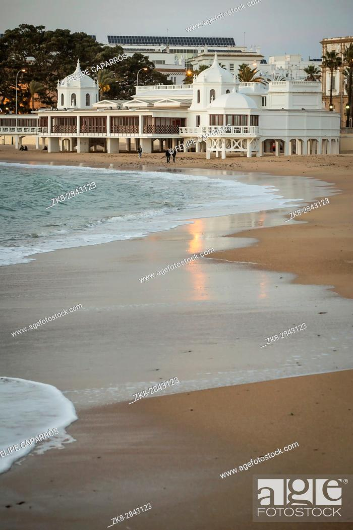 Stock Photo: Cadiz Spain- March 31: Caleta beach in the middle of the old city is the most popular of the beaches of Cadiz, Andalusia, Spain.