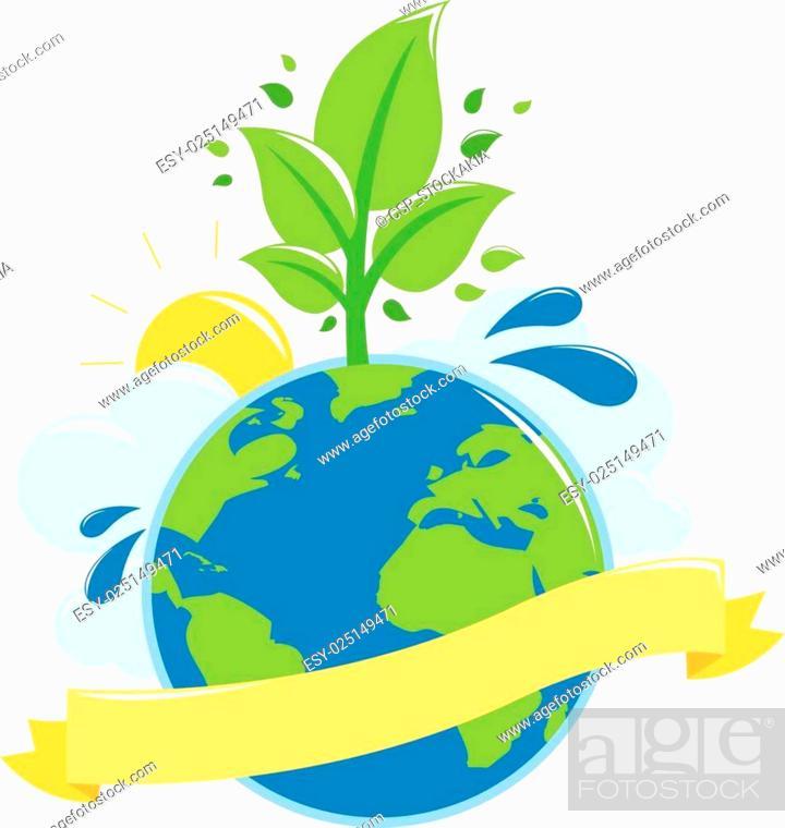Stock Vector: Green earth ecology concept.