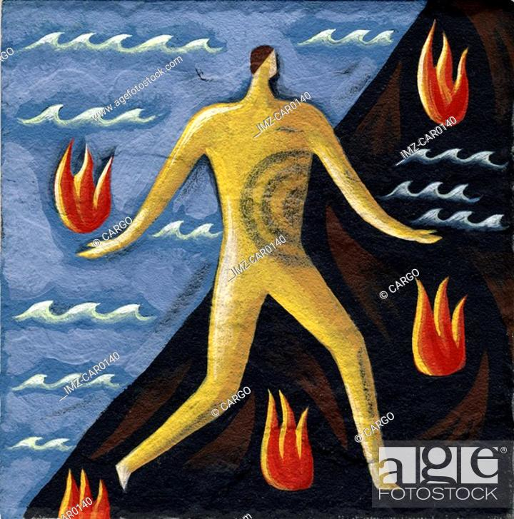 Stock Photo: Outline of a man walking over flames and water.