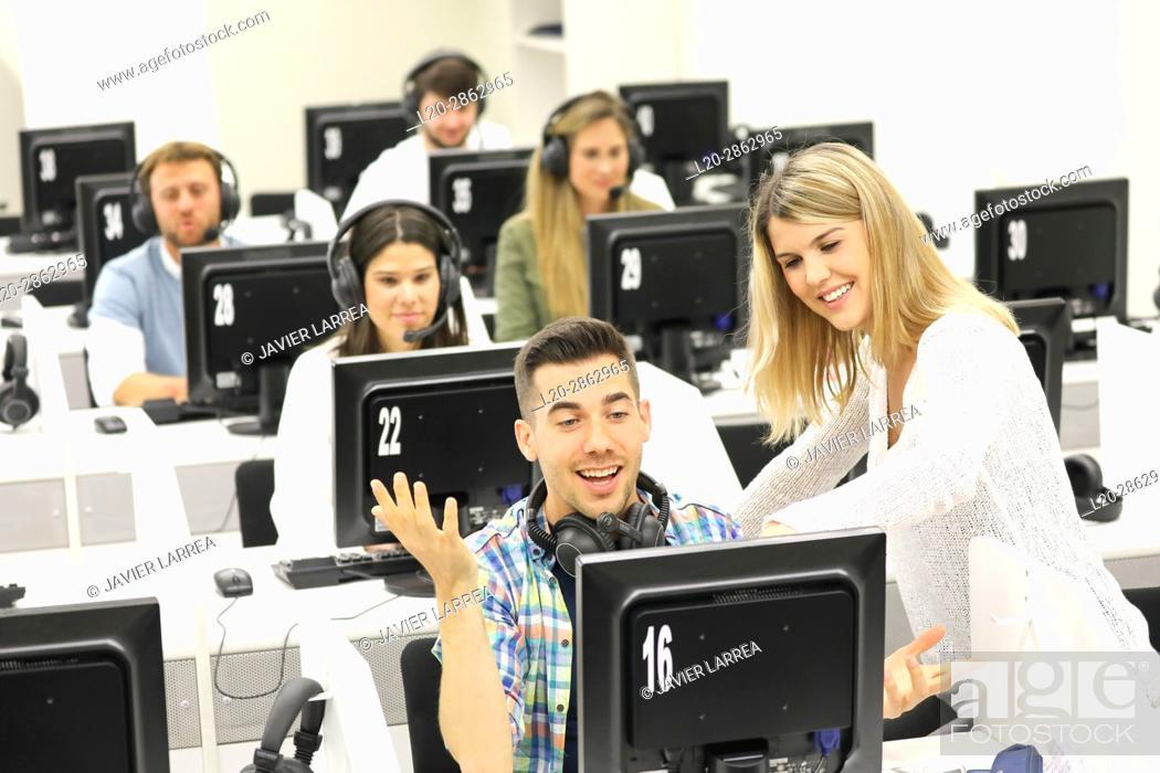 Stock Photo: Students in language laboratory, Language training classroom, University of the Basque Country, Donostia, San Sebastian, Gipuzkoa, Spain.