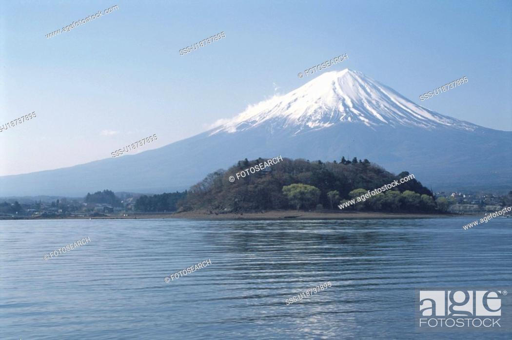 Stock Photo: Lake Kawaguchi And Mt. Fuji.