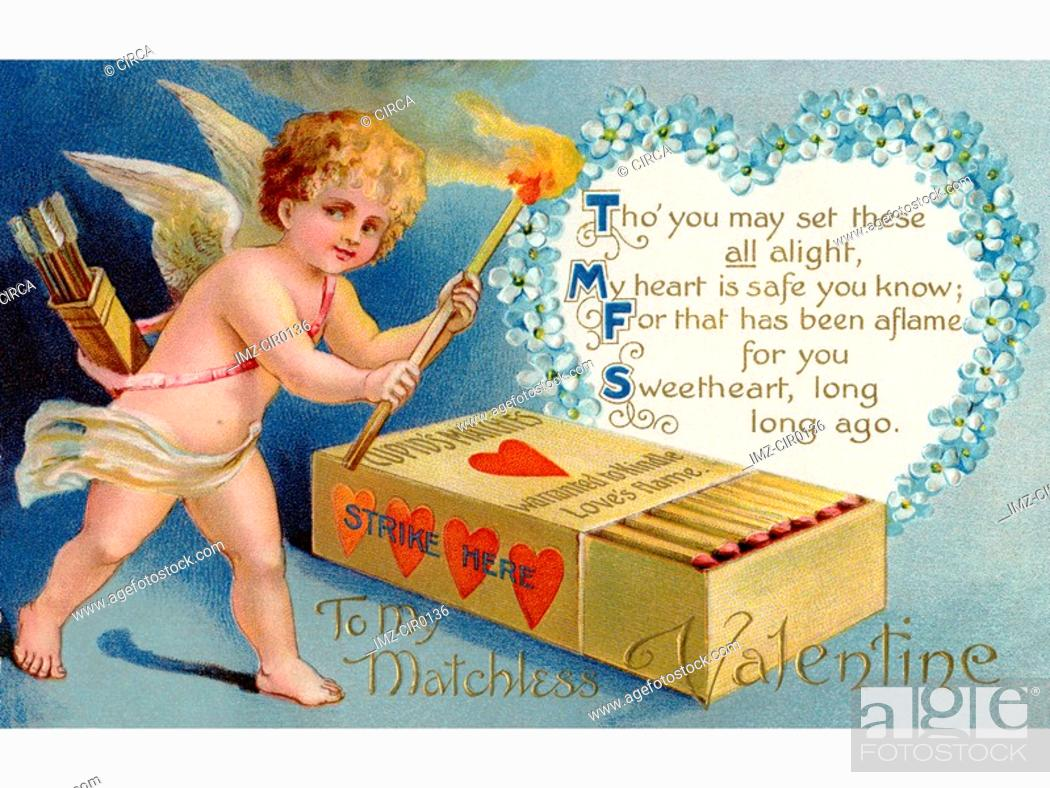 Stock Photo: A vintage Valentines card with cupid striking matches.