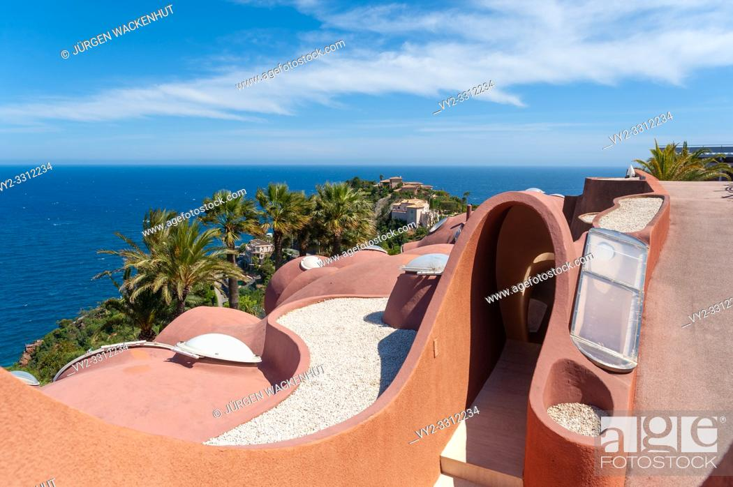 Stock Photo: Architectural detail of the Palais Bulles in front of Mediterranean panorama, Théoule-sur-Mer, Var, Provence-Alpes-Cote d`Azur, France, Europe.