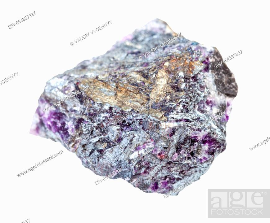 Stock Photo: closeup of sample of natural mineral from geological collection - Stibnite (Antimonite) ore with Amethyst quartz isolated on white background.