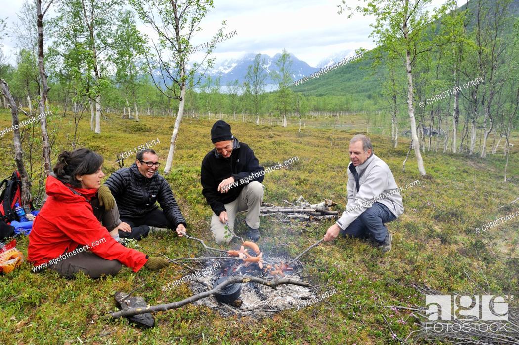 Stock Photo: campfire, Nordmannvikdalen valley, region of Lyngen, County of Troms, Norway, Northern Europe.